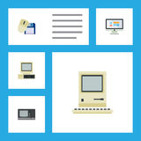 Flat Icon Laptop Set Of Computer Mouse, Computing, Vintage Hardware And Other Vector Objects. Also Includes Screen Stock Photos