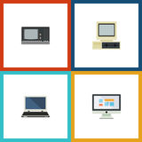 Flat Icon Laptop Set Of Notebook, Computer, Vintage Hardware And Other Vector Objects. Also Includes Display, Computer Royalty Free Stock Photography