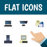 Flat Icon Laptop Set Of PC, Processor, Computer Mouse And Other Vector Objects. Also Includes Laptop, Mouse, Retro Stock Photo