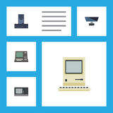 Flat Icon Laptop Set Of Technology, PC, Vintage Hardware And Other Vector Objects. Also Includes Keyboard, Vintage Stock Photo