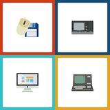 Flat Icon Laptop Set Of Vintage Hardware, Computer Mouse, Display And Other Vector Objects. Also Includes Monitor Stock Photo
