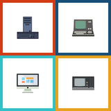Flat Icon Laptop Set Of Vintage Hardware, Processor, Technology And Other Vector Objects. Also Includes Processor Stock Photos