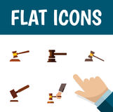Flat Icon Lawyer Set Of Government Building, Court, Hammer And Other Vector Objects. Also Includes Court, Hammer Stock Photos