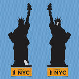 Flat Icon of  Liberty  Statue, Front View and Back View, Royalty Free Stock Images
