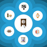 Flat Icon Lifestyle Set Of Bureau, Beer With Chips, Clock And Other Vector Objects. Also Includes Egg, Bureau, Boardroom Elements. Royalty Free Stock Photography