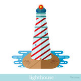 Flat icon lighthouse with sea object on white Royalty Free Stock Images