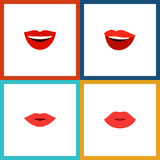Flat Icon Lips Set Of Smile, Pomade, Lips And Other Vector Objects. Also Includes Pomade, Makeup, Mouth Elements. Stock Photos