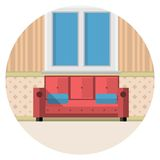 Flat icon for living room Royalty Free Stock Photos