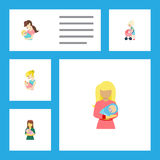 Flat Icon Mam Set Of Child, Kid, Woman And Other Vector Objects. Also Includes Perambulator, Mother, Newborn Elements. Royalty Free Stock Images