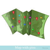 Flat icon map with pin Royalty Free Stock Photos