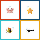 Flat Icon Marine Set Of Fish, Seafood, Cancer And Other Vector Objects. Also Includes Star, Lobster, Crab Elements. Stock Images