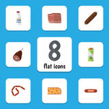 Flat Icon Meal Set Of Bottle, Bratwurst, Beef And Other Vector Objects. Also Includes Food, Packet, Ham Elements. Flat Icon Meal Set Of Bottle, Bratwurst, Beef Stock Photography