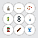 Flat Icon Meal Set Of Bratwurst, Yogurt, Spaghetti And Other Vector Objects. Also Includes Sauce, Bottle, Pasta Elements. Flat Icon Meal Set Of Bratwurst, Yogurt Stock Photography