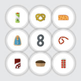Flat Icon Meal Set Of Fizzy Drink, Cookie, Cheddar Slice And Other Vector Objects. Also Includes Frankfurt, Tasty Royalty Free Stock Image