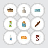 Flat Icon Meal Set Of Tart, Tin Tuna, Smoked Sausage And Other Vector Objects. Also Includes Bag, Canned, Fish Elements. Stock Photography