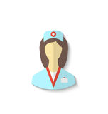 Flat icon of medical nurse with shadow isolated on white backgro Royalty Free Stock Images