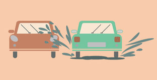 Flat icon meeting between the two cars Royalty Free Stock Photography