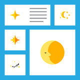 Flat Icon Midnight Set Of Night, Asterisk, Bedtime And Other Vector Objects. Also Includes Twilight, Star, Asterisk Elements. Stock Images