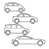 Flat icon. 4 model of vehicle icon. isolate on white background. vector illustration Stock Images