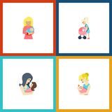 Flat Icon Mother Set Of Newborn Baby, Mother, Kid And Other Vector Objects. Also Includes Parent, Baby, Perambulator Stock Photography