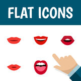 Flat Icon Mouth Set Of Pomade, Lipstick, Tongue And Other Vector Objects. Also Includes Mouth, Lips, Pomade Elements. Royalty Free Stock Photos