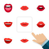 Flat Icon Mouth Set Of Pomade, Tongue, Mouth And Other Vector Objects. Also Includes Tongue, Rouge, Teeth Elements. Royalty Free Stock Images