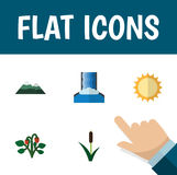 Flat Icon Natural Set Of Solar, Cascade, Peak And Other Vector Objects. Also Includes Peak, Sunshine, Sun Elements. Stock Photography