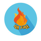 Flat Icon Of No Fire With Long Shadow For Travel, Hiking Royalty Free Stock Image