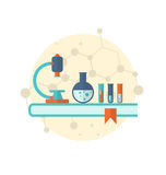 Flat icon of objects chemical laboratory Royalty Free Stock Photography