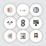 Flat Icon Oneday Set Of Bureau, Clock, Lunch And Other Vector Objects. Also Includes Food, Time, Partnership Elements. Royalty Free Stock Images