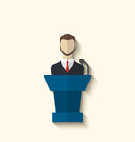 Flat icon of orator speaking from rostrum, long shadow style Stock Photos