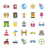 Flat Icon Pack of Travelling and Tourism. This is flat icons pack of travel and places. Online travel information sites, apps and bookings are getting common so Royalty Free Stock Photo