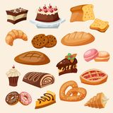 Flat Icon Pastry Set Royalty Free Stock Photo