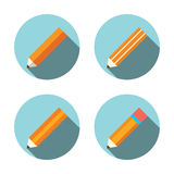 Flat icon pencil set with long shadow Stock Photo