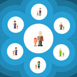 Flat Icon People Set Of Grandson, Grandpa, Grandma Vector Objects. Also Includes Men, Brother, Grandma Elements. Flat Icon People Set Of Grandson, Grandpa Royalty Free Stock Image