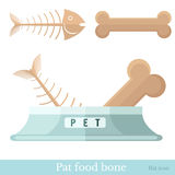 Flat icon pet food bon for dog and fish bone for cat. Flat pet food bone with pet bowl fish-bone and bone Stock Photography