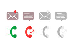 Flat icon phone. Contact information icons: mail, phone and chat Royalty Free Stock Photos