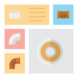 Flat Icon Pipeline Set Of Iron, Plastic, Pipe And Other Vector Objects. Also Includes Pipe, Roll, Cast Elements. Flat Icon Pipeline Set Of Iron, Plastic, Pipe Stock Images