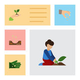 Flat Icon Plant Set Of Glove, Sow, Seed And Other Vector Objects. Also Includes Care, Soil, Plant Elements. Royalty Free Stock Image