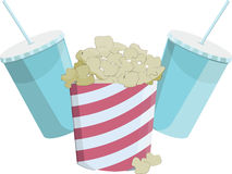 Flat icon of the popcorn and drinks. Standart cinema pack icludes drinks and popcorn Stock Photos