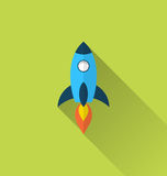 Flat icon of rocket with long shadow style Royalty Free Stock Photos