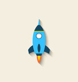 Flat icon of rocket with long shadow style. Illustration flat icon of rocket with long shadow style - vector Royalty Free Stock Photo