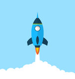Flat icon of rocket with long shadow style, startup concept Stock Image