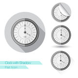 Flat icon round clock with shadow Stock Images