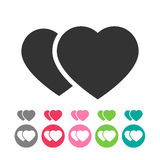Flat icon with rwo flat  hearts. Two  hearts icon. In a circle shape and without Stock Photo