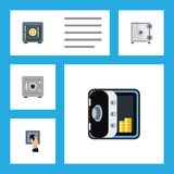 Flat Icon Safe Set Of Banking, Locked, Closed And Other Vector Objects. Also Includes Unlock, Closed, Safe Elements. Flat Icon Safe Set Of Banking, Locked Royalty Free Stock Photos