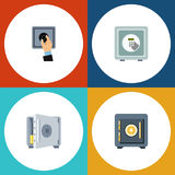 Flat Icon Safe Set Of Coins, Safe, Saving And Other Vector Objects. Also Includes Banking, Strongbox, Closed Elements. Royalty Free Stock Photo
