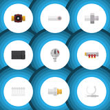 Flat Icon Sanitary Set Of Pipework, Connector, Tap And Other Vector Objects. Also Includes Manometer, Water, Pressure Stock Image