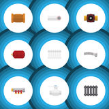 Flat Icon Sanitary Set Of Tap, Heater, Container And Other Vector Objects. Also Includes Container, Radiator, Flange Royalty Free Stock Image