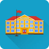 Flat icon of school building. Flat icon of school building with long shadow on blue background. Vector illustration Stock Image